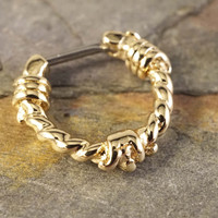 16 Gauge Gold Barbed Wire Septum Ring Clicker Daith Ring Nose Piercing