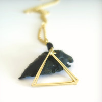 Sale Gold Triangle Necklace with Black Onyx / Gold Layering Necklace