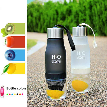 1PCS New Frosted Leak-proof 650ml Lemon Cup H2O Portable Brief Creative Sports Water Bottle For Outdoor Sports Running Camping