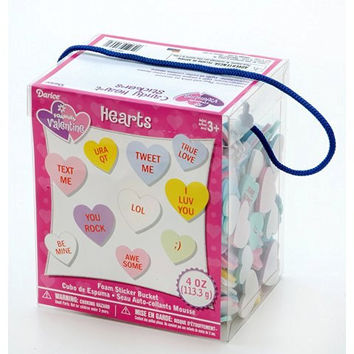 Foamies Valentine Conversation Heart Stickers - Candy Heart Stickers - Foam Sticker Bucket