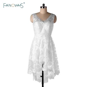 New Design White High Low Lace Bridesmaid Dresses Sexy V Back Party Dress Knee-Length Maid of Honor Dresses Plus Size BND55