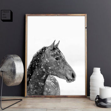 horse art print, black and white art print, black and white photography, black and white decor, horse lovers gift, nursery decor, printable