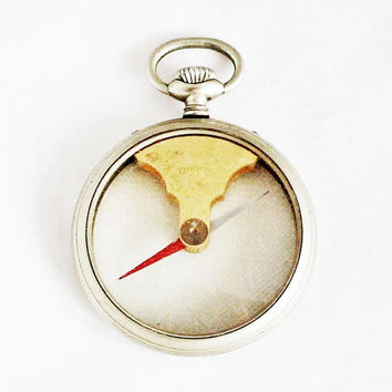 Rare 1890s Swiss FES Pocket Compass / Antique Fabrique d'Ebauches de Sonceboz Compass