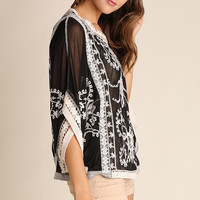 Floral Embroidered Top - Black