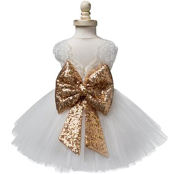 Baby Girl Lace Christening Gowns Gold Sequins Baby 1 Year Birthday Outfits Fancy Infant Party Dress For Girl Kids Summer Clothes