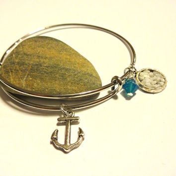 Anchor Charm Bangle Bracelet Made with Pacific Blue Swarovski Crystal Element, Ocean Inspired Jewelry, Silver Bangle With Beach Charms