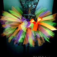 Halloween Tutu, Halloween Witch Tutu, Black Lime Purple Orange Tutu, Girls Tutu, Costume