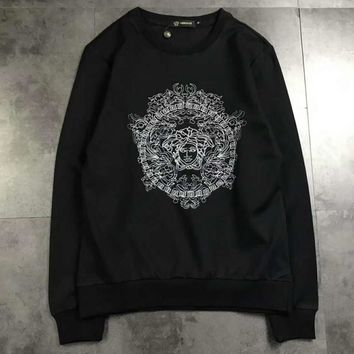Versace Fashion Long Sleeve Casual Monogram Print Sweater G-A-XYCL