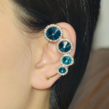 Diamond Ear Cuff -  Sapphire crystal earrings -  Non pieced ear cuff -  Cartilage ear cuffs - Left ear