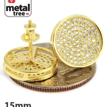 Jewelry Kay style Men's Hip Hop Bling XL Round Circle Square Flat Screen Screw Back Stud Earrings