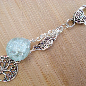 Tree of Life Leaf Mint Crackle Glass Marble Keychain