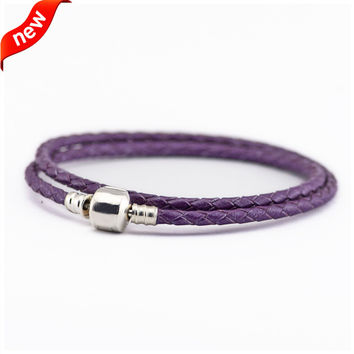 Fits European Beads Charms CKK 925 Sterling Silver Jewelry Bright Purple Leather Bracelets for Women DIY Jewelry Making PL15017