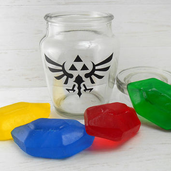 Rupee Soaps in a Jar - Set of 4 Soaps plus Glass Jar with Triforce Logo - Legend of Zelda