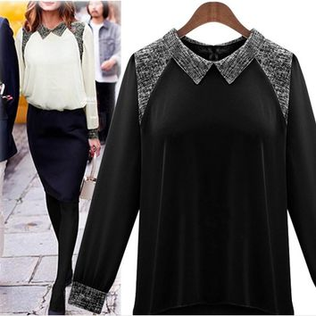 Chiffon Summer Stylish Slim Long Sleeve Tops Shirt [22459318298]