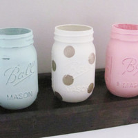 Mason Jars, Shabby Chic Decor, Distressed Painted Jars, Set of 3 Jars, Rustic Decor, Rustic Home Decor Set, Country, Farmhouse Set