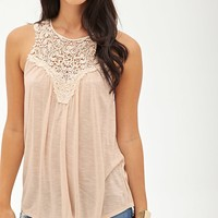 Contemporary Slub Knit Crochet Tank