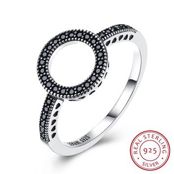 Women 925 Sterling Silver Ring Trendy Sterling Silver Retro Style Black Zirconium Ring