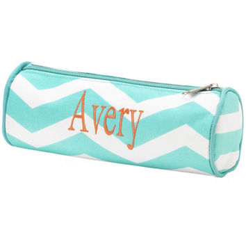 Monogram Pencil Case Aqua Chevron