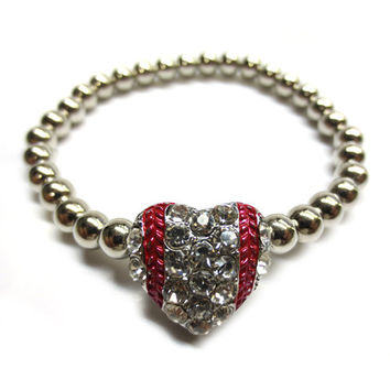 Baseball Rhinestone Heart With Red Stitch Bracelet (Stretch Fit)