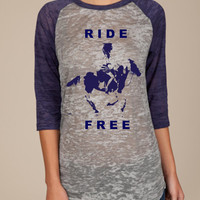 RIDE FREE  -  Palomino Horse Graphic  -  Grey & Navy Super Soft Burnout Tee