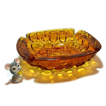 Blenko Amber Glass Pebble or Bubble Ashtray - 6 Inch Size - Retro Mid Century Art Glass Ashtray