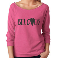 Beloved 3/4 Sleeve Scoop Neck - beautiful quote shirts, workout clothing, motivational tshirts, inspirational raw edge tops