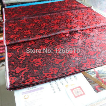 chinese silk brocade woven damask fabric cheongsam cushion black back red dragon Tapestry satin