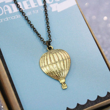 Hot Air Balloon Necklace Antique Gold