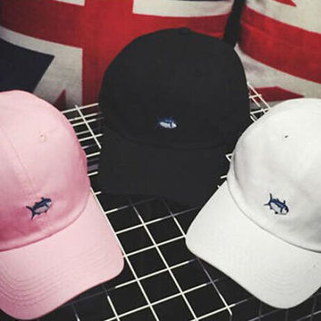 White Embroidery Fish Baseball hat Summer