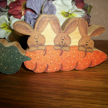 Brown Bunny Rabbits Figurine Garden Carrot Easter Decoration Vintage Handcrafted Farmhouse Home Decor