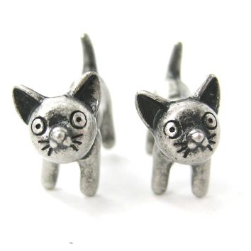 Fake Gauge Earrings: Adorable Kitty Cat Animal Plug Earrings in Silver