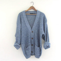 Vintage 1980s blue and white Speckled Button Up Preppy Oversized Sweater Cardigan with pockets // L