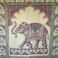 Elephant Tapestry Wall Hanging, Large Fabric Wall Hanging, Boho Animal Wall Decor, Colorful Woven Wall Hanging
