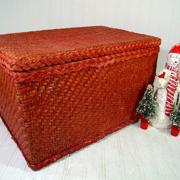 Vintage Faded Red Painted Wood & Wicker Basket Trunk with Lift Open Lid - Boho Hippie Crafters Decorator Chest Rustic Artisan Rattan Chest