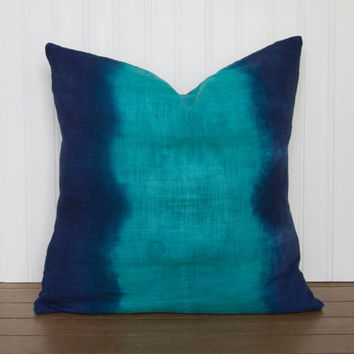 Emerald Green and Indigo Blue Pillow Cover, Dip Dyed Cushion Cover, your choice of size