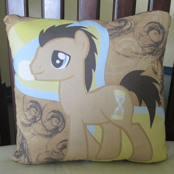Dr Whooves My Little Pony MLP Custom Fabric 16 x 16 Square Toss Pillow
