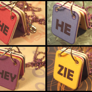 Genderfluid Pronouns Necklace - She, He, They, Zie - Solid Backgrounds - Purple Chain