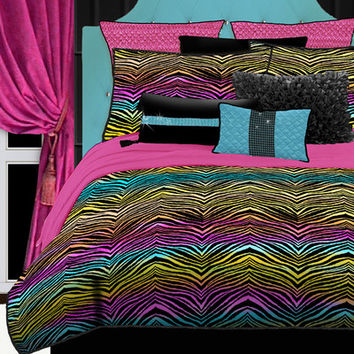 Veratex, Inc. Rainbow Zebra Comforter Set