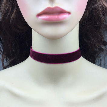 Vintage Steampunk Burgundy Velvet Choker Necklace - 18mm Wine Red Plain Velvet With Silver Clasp Closure Handmade Simple Jewelry