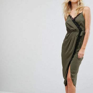 ASOS TALL Hammered Satin Lace Trim Cami Sexy Wrap Midi Dress at asos.com