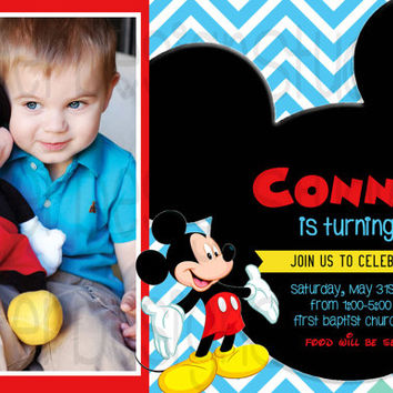 Mickey Mouse Chevron Birthday Invitation - Printable Digital file