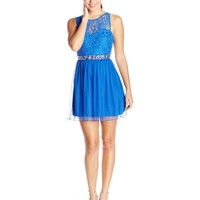 Speechless Juniors' Sleeveless Lace Bodice Dress with Pleats and Beaded Waist