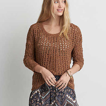 AEO Open Knit Sweater, Caramel