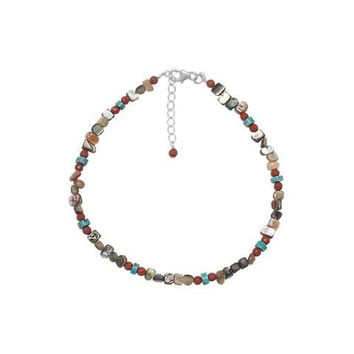 "9"" Anklet with Turquoise, Abalone and Red Jasper +1"" Extension"