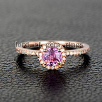 Round Pink Sapphire Engagement Ring Pave Diamond Wedding 14K Rose Gold 5mm