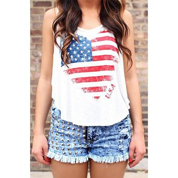 New Fashion Heart Shaped Tank Top for Women Sexy American Flag Print Racer Back Curved Hem Loose Tanks Camisole Debardeur White
