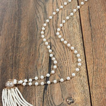 Bead Tassel Necklace Pearl