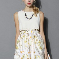 Bella de Fleur Tiered Floral Dress in Beige