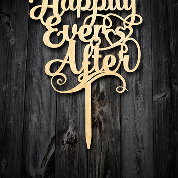 Happily Ever After Wedding Cake Topper Wood Cake Topper wedding. Cake topper wedding rustic cake topper. Rustic wedding cake topper.
