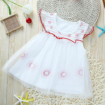 2016 Cute Baby Dresses O-neck Floral Cotton Princess Dress Gauze Toddler Clothes Girls Dress Summer Baby Clothing Hot Fashion